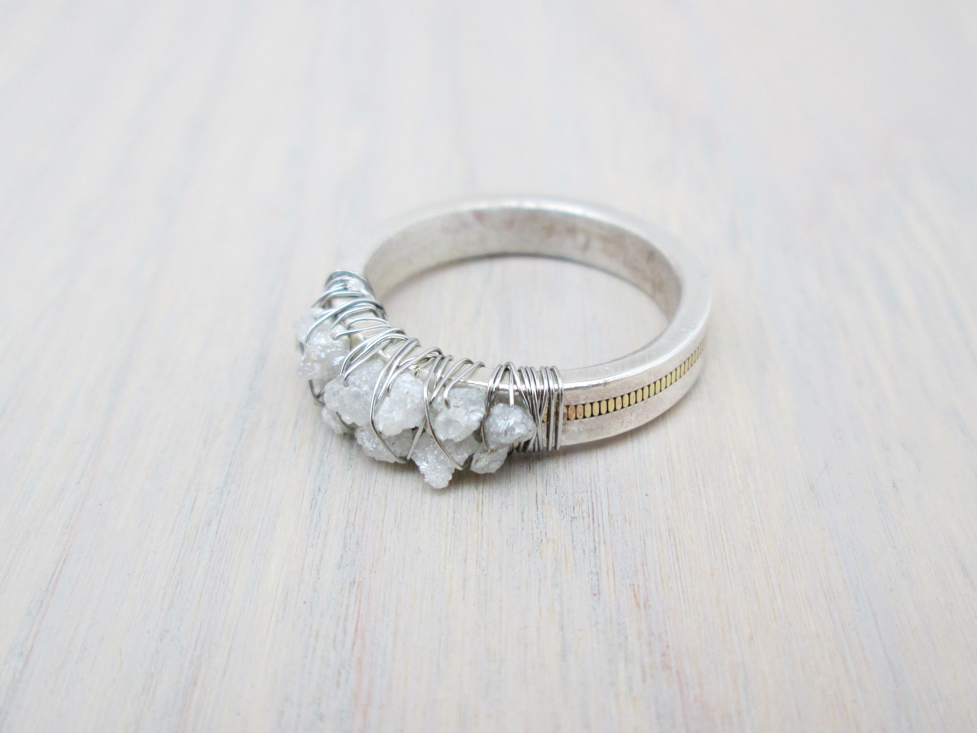 rings diamond engagement wedding unconventional ring cluster of raw