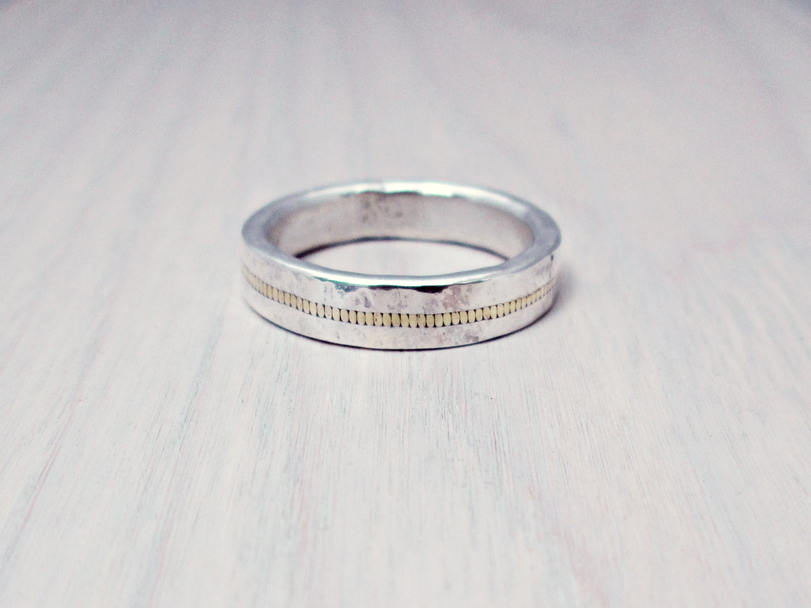 Wide Gold and Silver Guitar String Ring - The Chestnut Forge