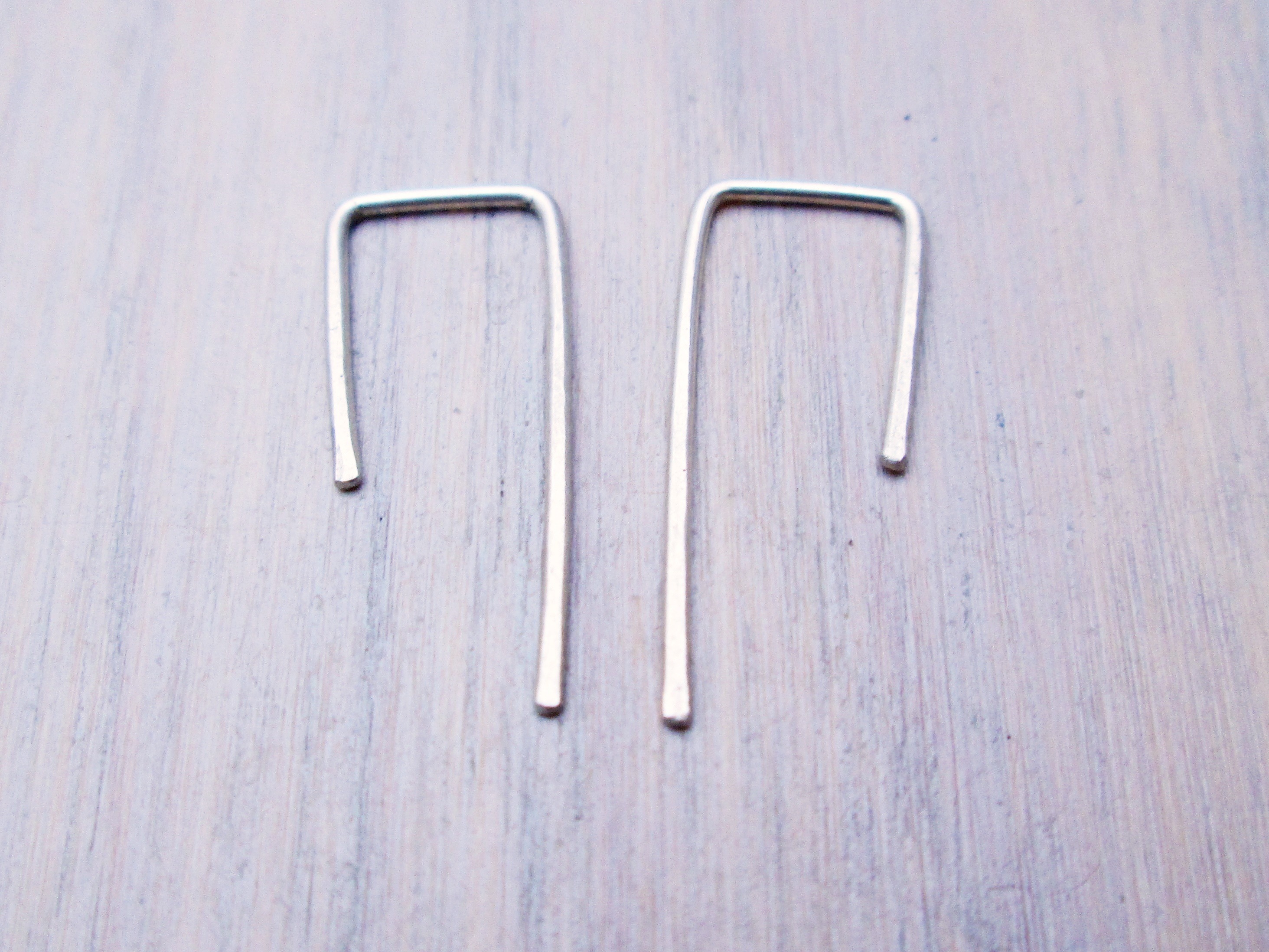 tiny square hook earrings sterling silver