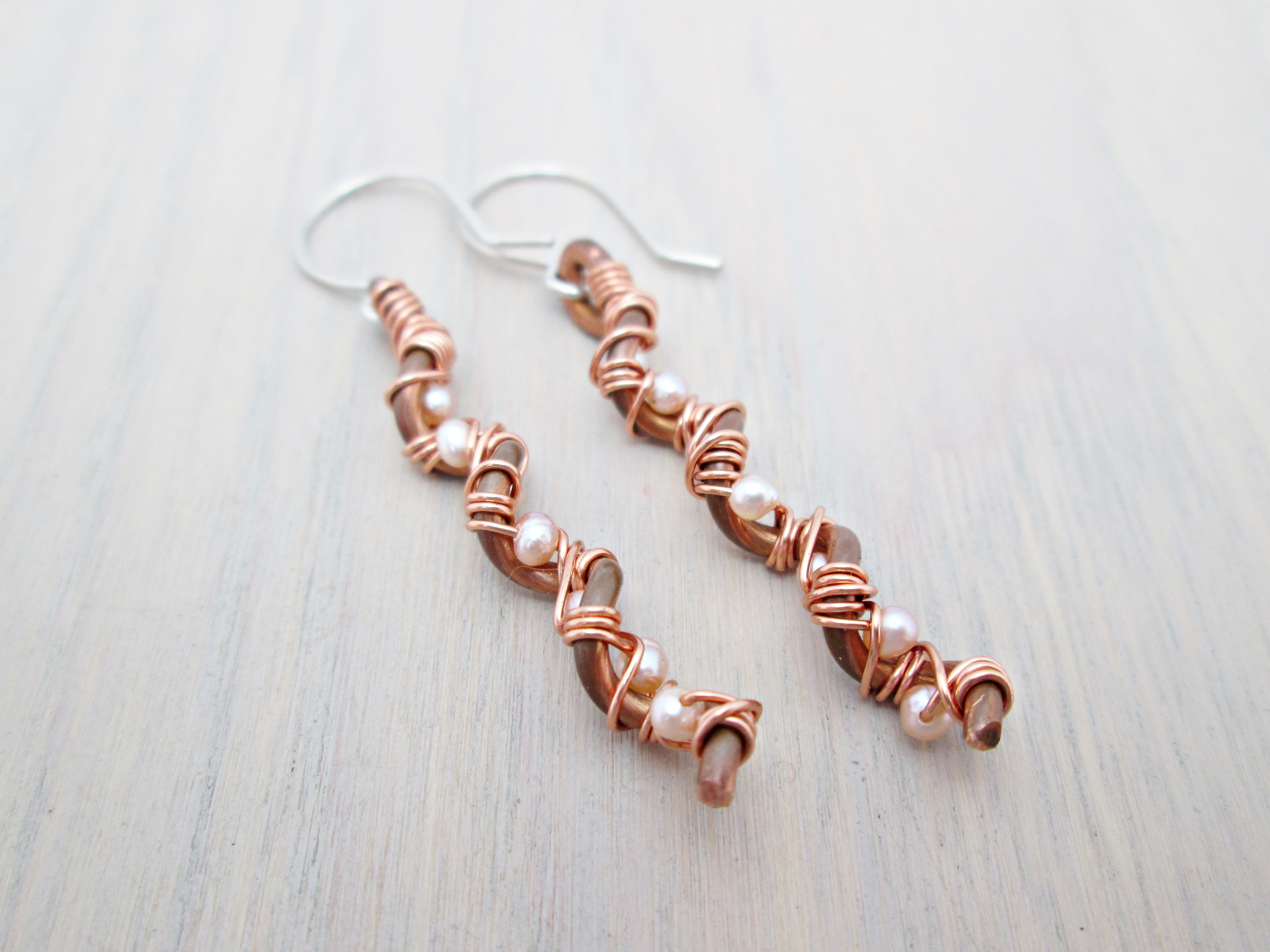 Piano Wire Earrings {Pink Pearl Spirals} - The Chestnut Forge