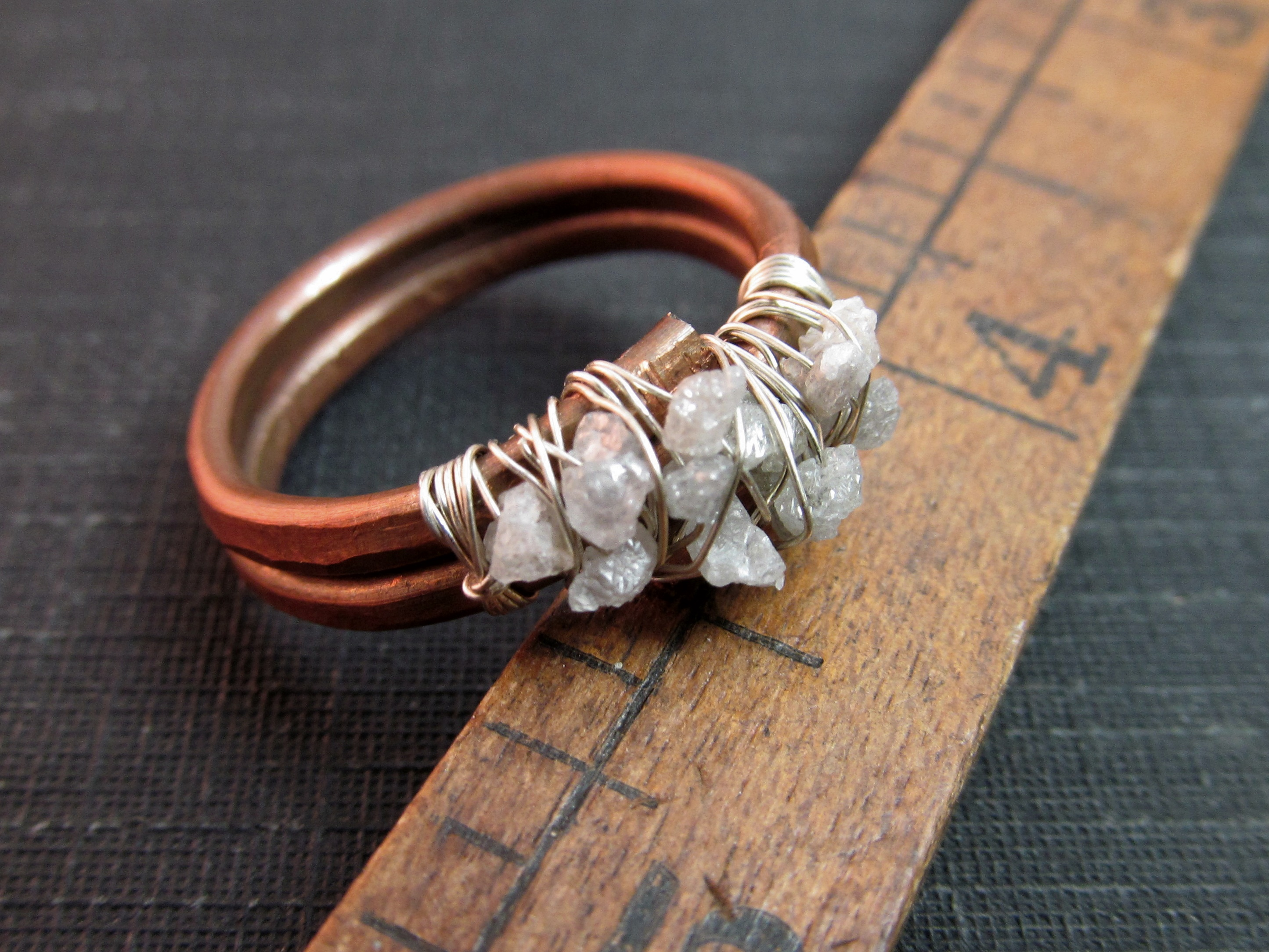 Double Band Raw Uncut Rough Diamond Ring Copper The