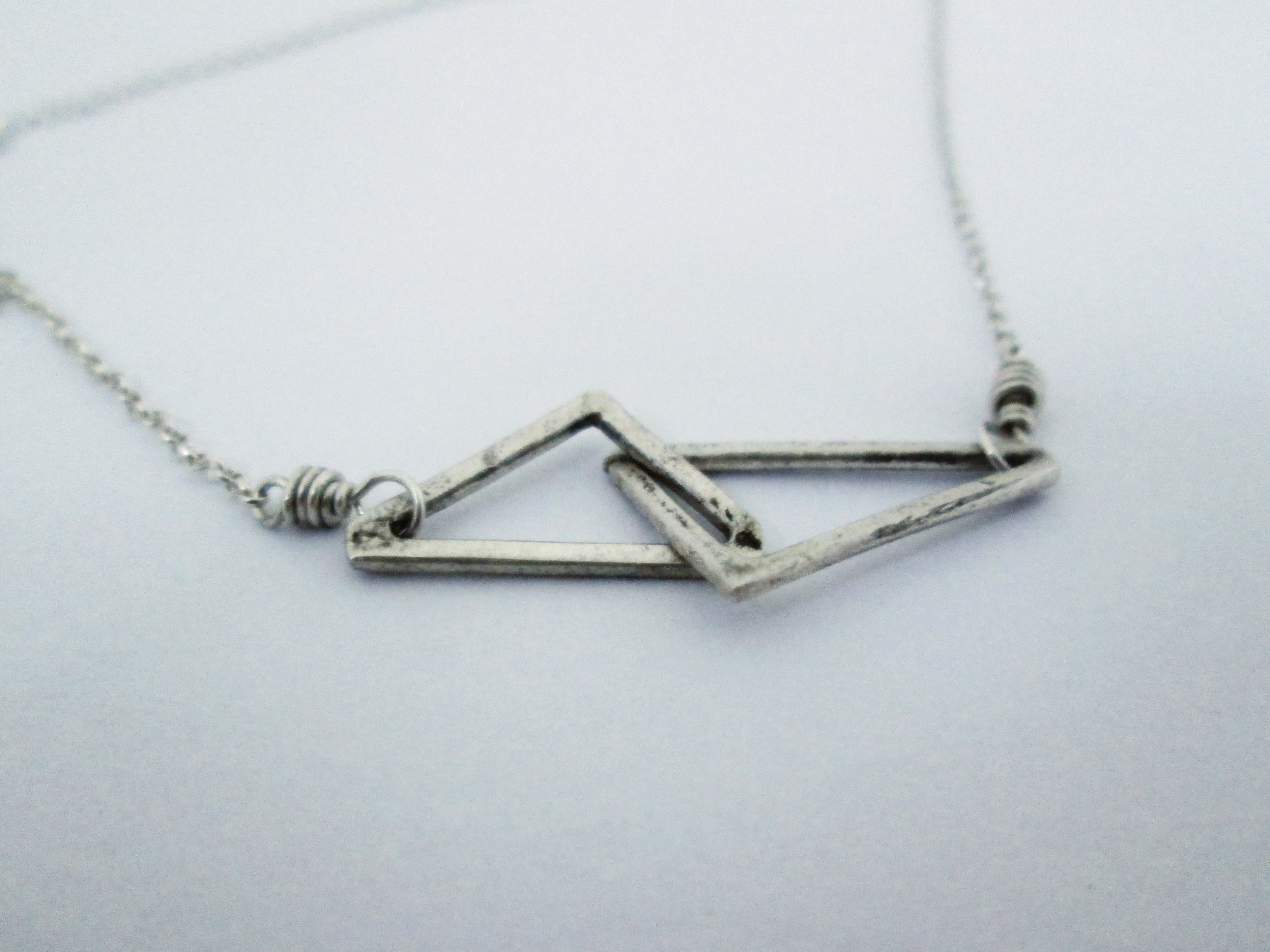 Silver Interlocking Triangle Necklace - The Chestnut Forge