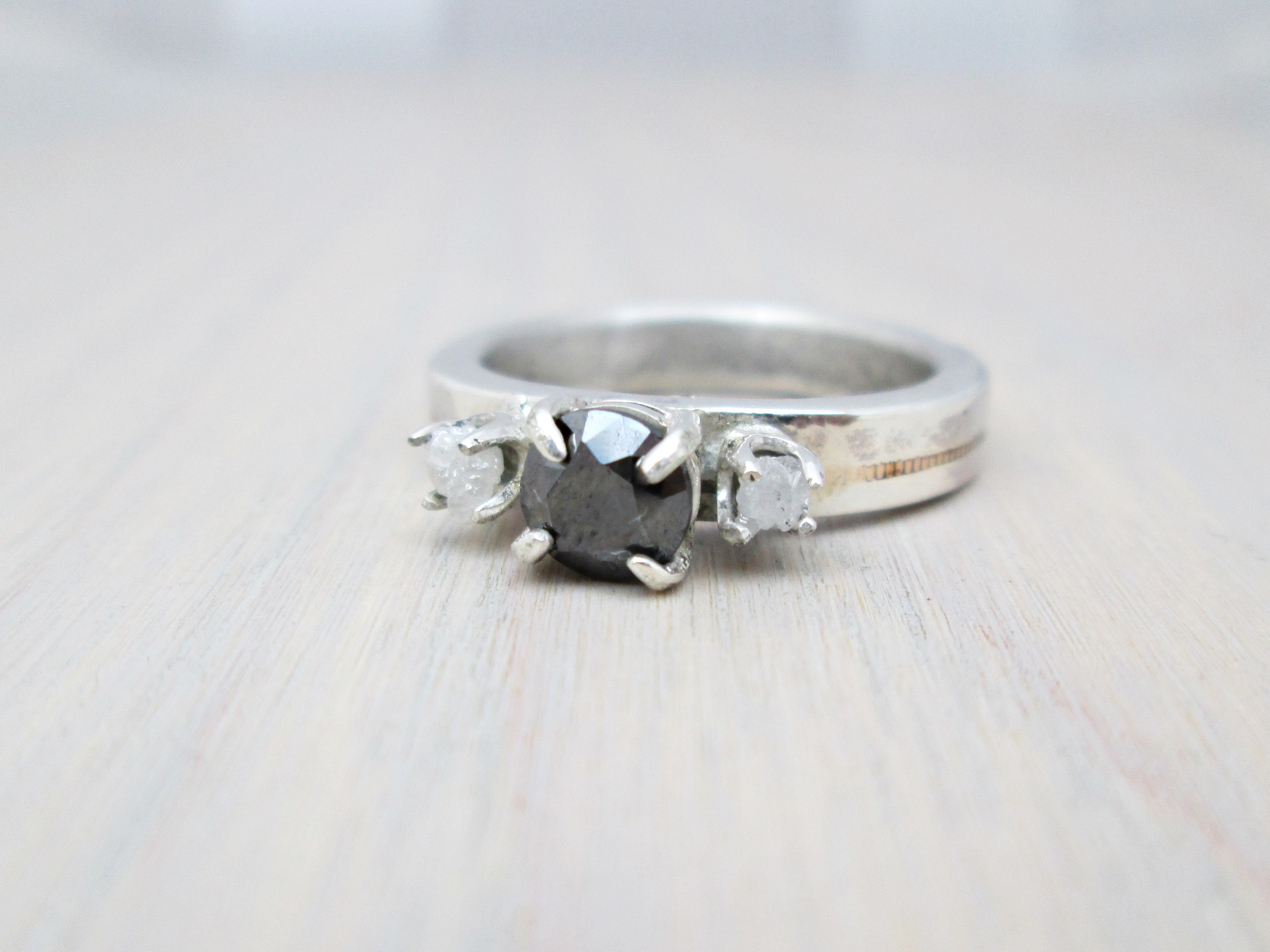 the mariana black white diamond guitar string engagement ring the chestnut forge. Black Bedroom Furniture Sets. Home Design Ideas